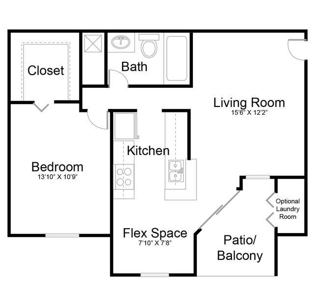 A 2D drawing of the Escape - Renovated floor plan