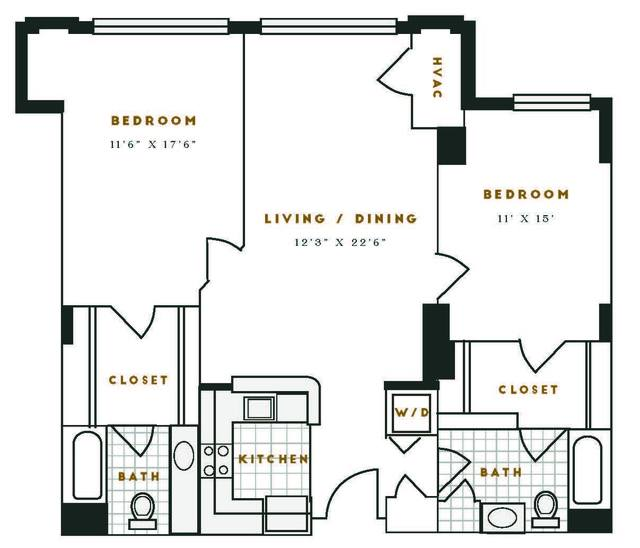 A 2D drawing of the K1R floor plan