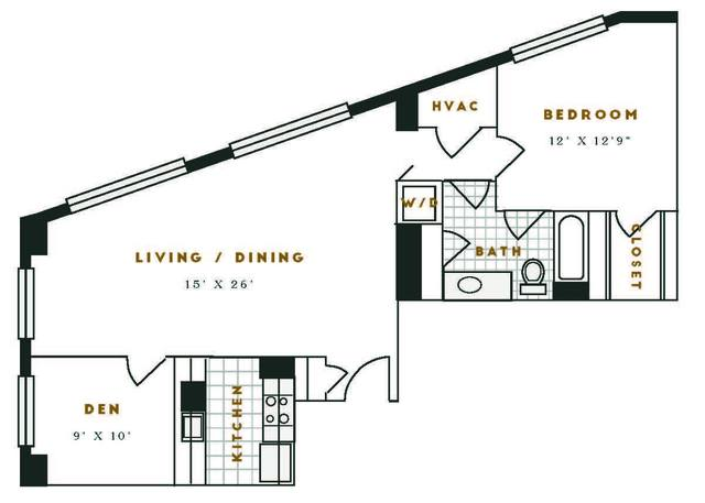 A 2D drawing of the G1R floor plan