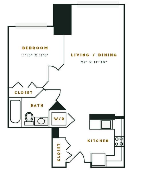 A 2D drawing of the M5R floor plan