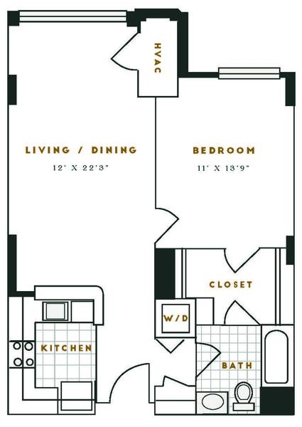 A 2D drawing of the D1R floor plan