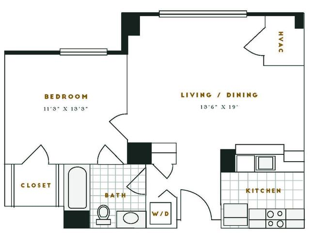 A 2D drawing of the B1R floor plan
