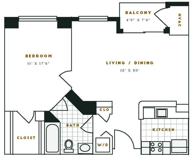 A 2D drawing of the C1R floor plan