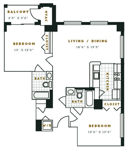 A 2D drawing of the H1R floor plan