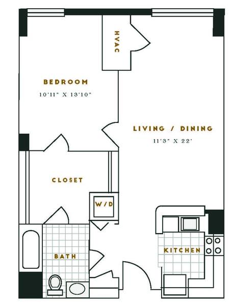 A 2D drawing of the M1R floor plan