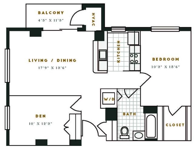 A 2D drawing of the F1R floor plan