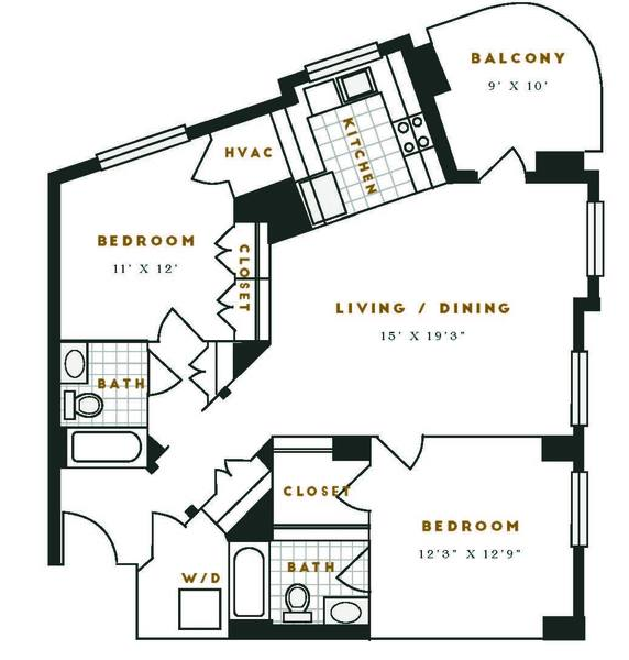 A 2D drawing of the J1R floor plan