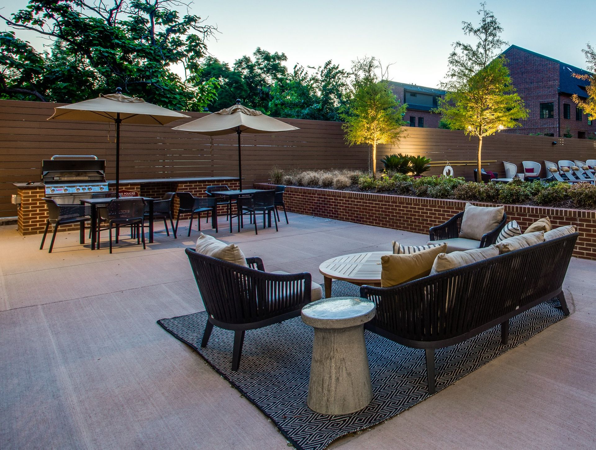 Outdoor space with seating and grilling station