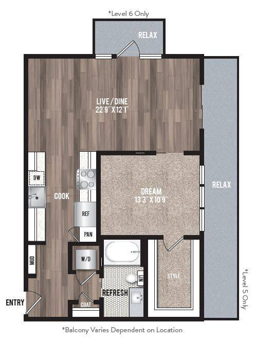 A 2D drawing of the A2.2 floor plan