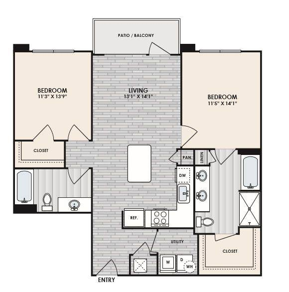 A 2D drawing of the B3A floor plan