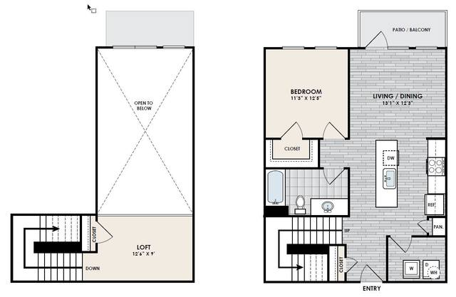 A 2D drawing of the A8 1x1 Loft floor plan