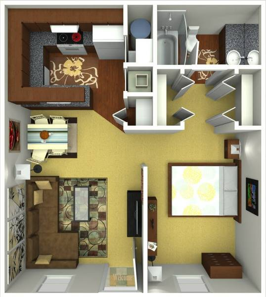 A 3D rendering of the Cape Renovated floor plan