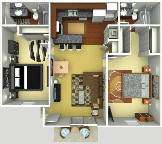 A 3D rendering of the Tuscany Renovated floor plan