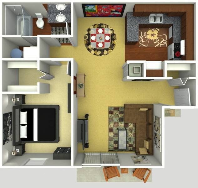 A 3D rendering of the Royal floor plan