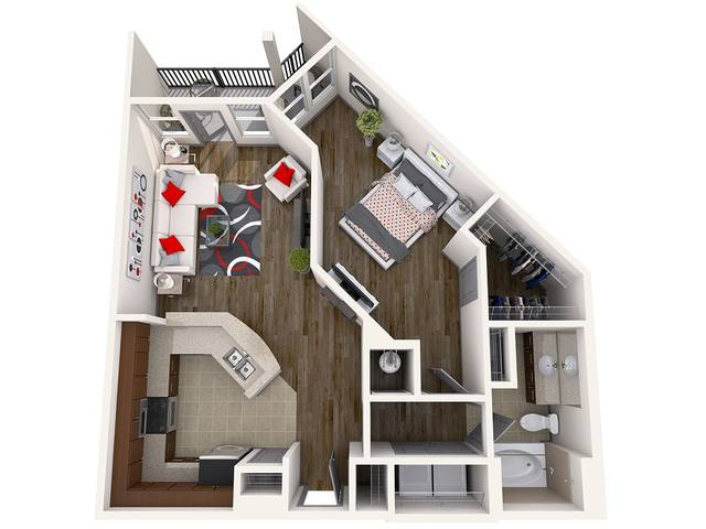 A 3D rendering of the Wall Street floor plan