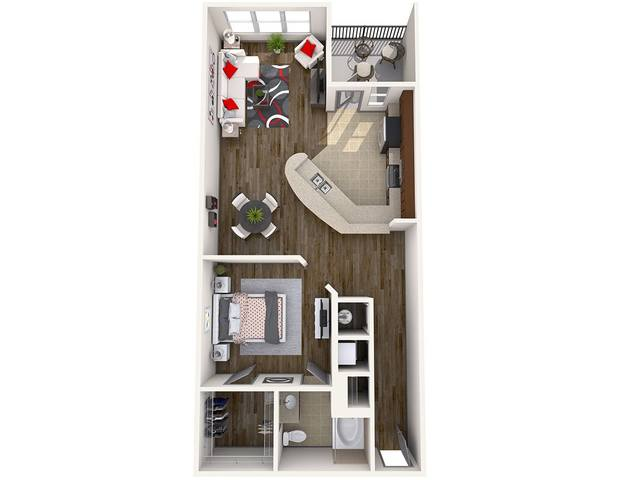 A 3D rendering of the Delaney floorplan