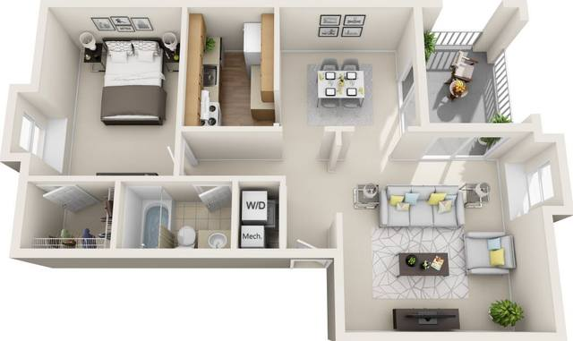 A 3D rendering of the Allure Renovated floor plan