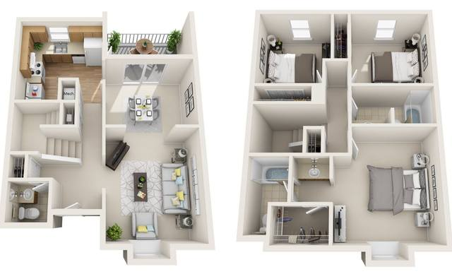 A 3D rendering of the Honor Renovated floor plan