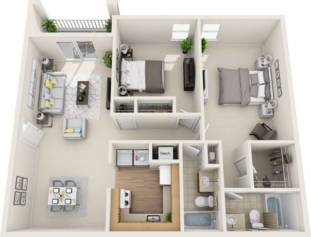 A 3D rendering of the Solace Renovated floor plan