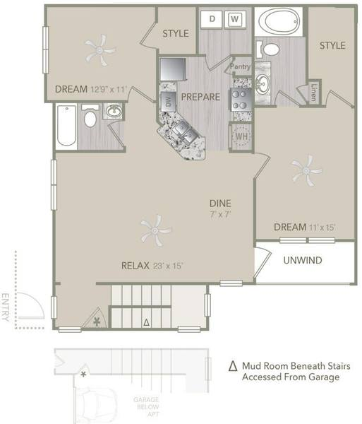 A 2D drawing of the B1UA w/attached Garage floor plan