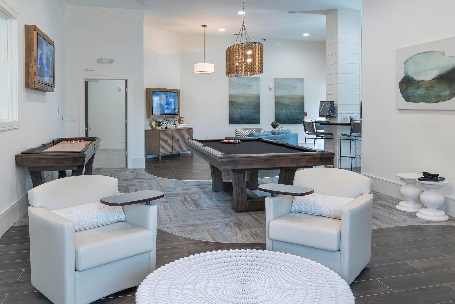 Lounge area with pool table and shuffleboard