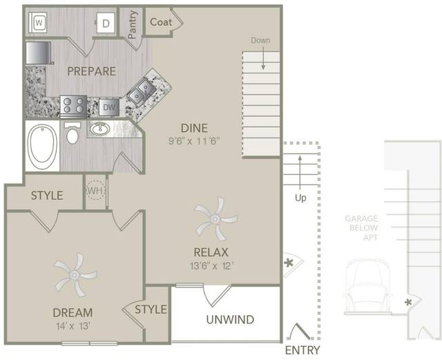 A 2D drawing of the A2U w/attached Garage floor plan