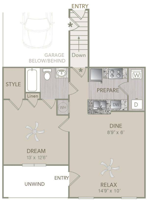 A 2D drawing of the A1U w/attached Garage floor plan