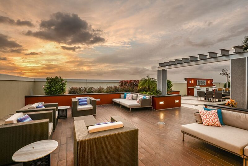 Rooftop lounge with outdoor seating