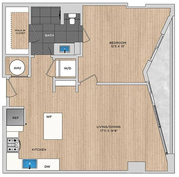 A 2D drawing of the A2.1a floor plan