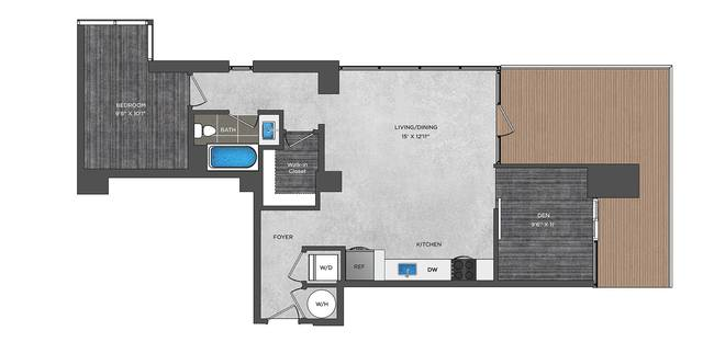 A 2D drawing of the LA8 floor plan