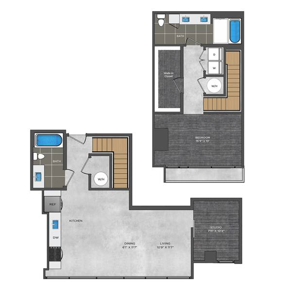 A 2D drawing of the LE7.1 floor plan