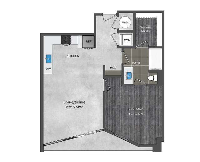 A 2D drawing of the LA6 floor plan