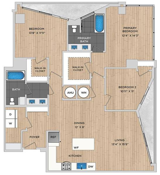 A 2D drawing of the C2.1a floor plan