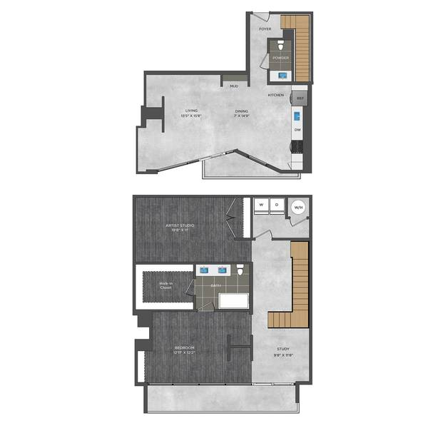 A 2D drawing of the LD1.1 floor plan