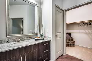 Bathroom with large mirror, granite counter, and walk-in closet