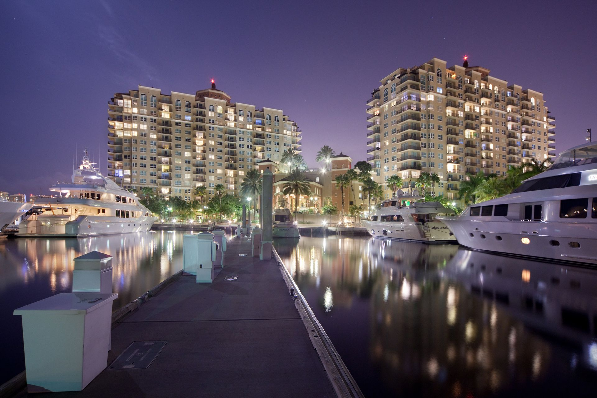 View of apartment building from pier
