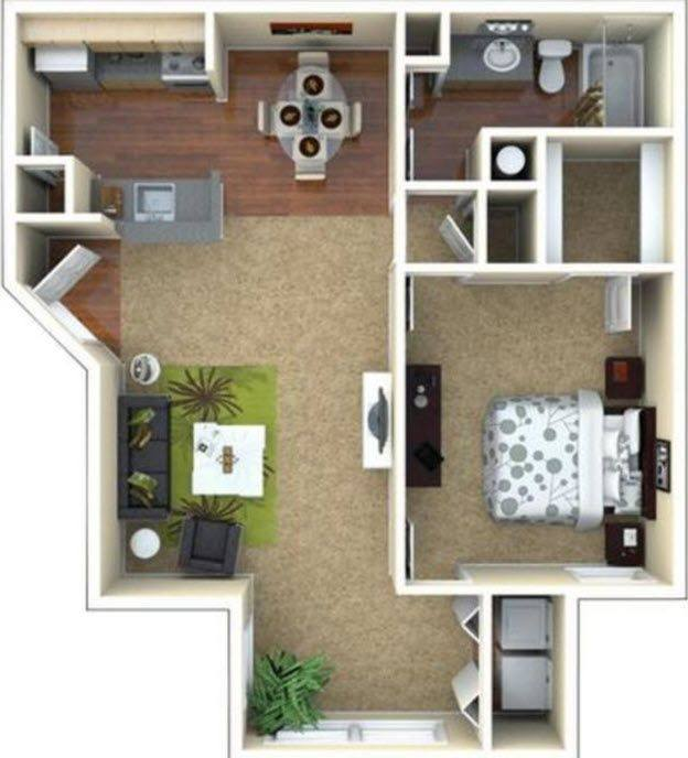 A 3D rendering of the A2 Renovated floor plan