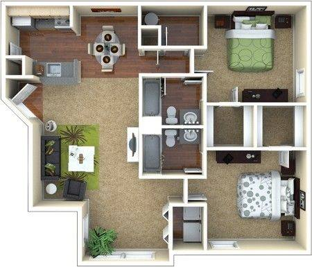 A 3D rendering of the B2 Renovated floor plan