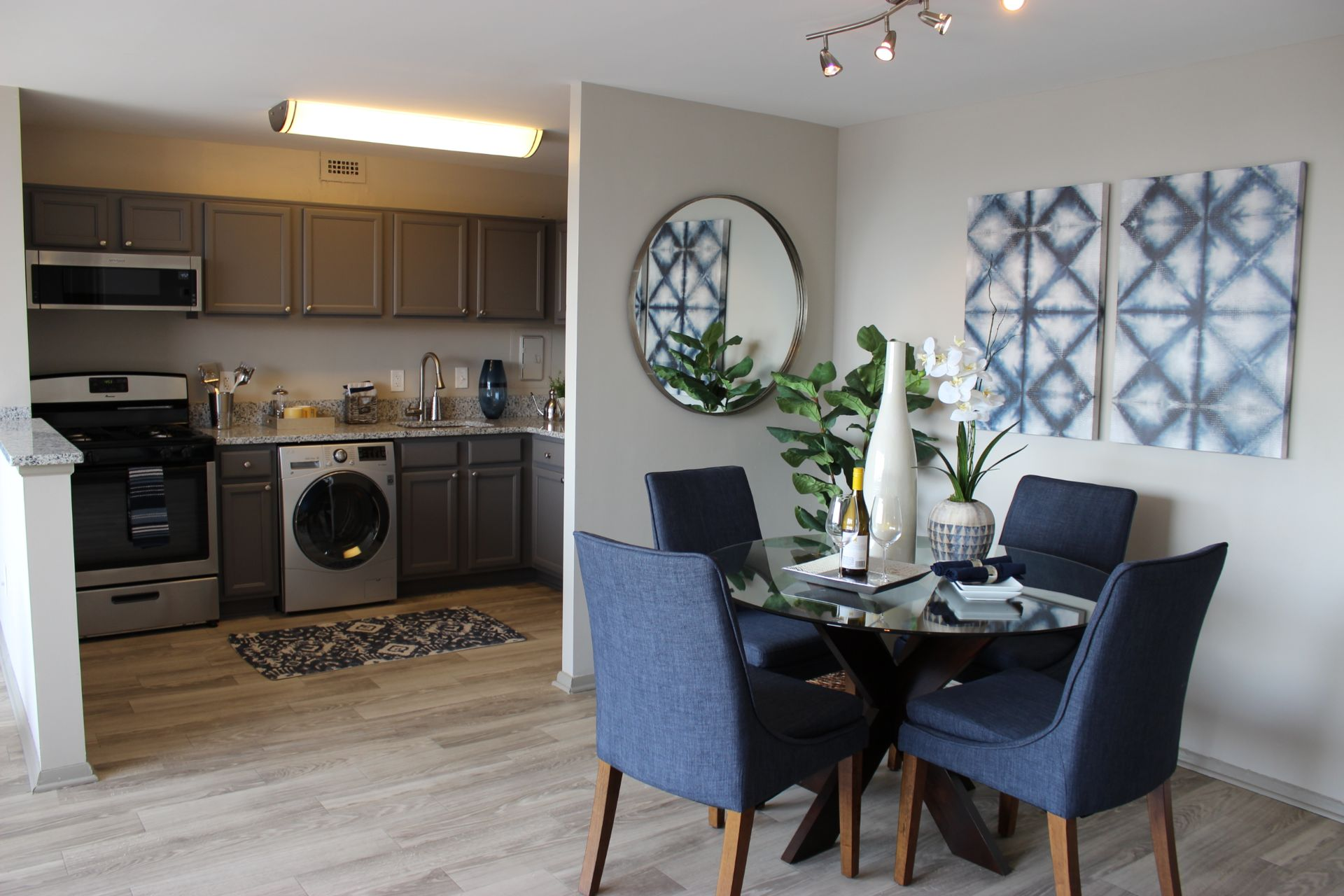 Apartment dining area and kitchen