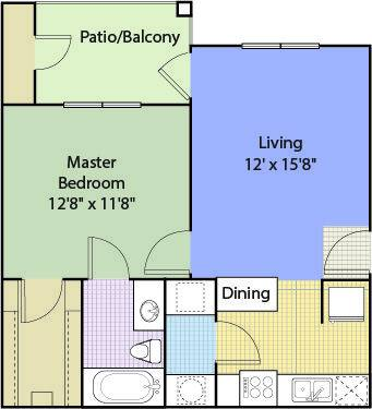 A 2D drawing of the A1 Renovated floor plan