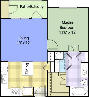 A 2D drawing of the A1A Renovated floor plan