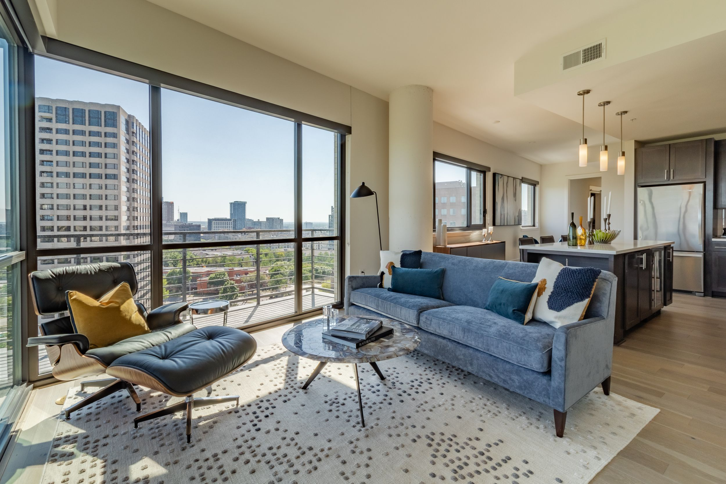 apartment living room with view of city