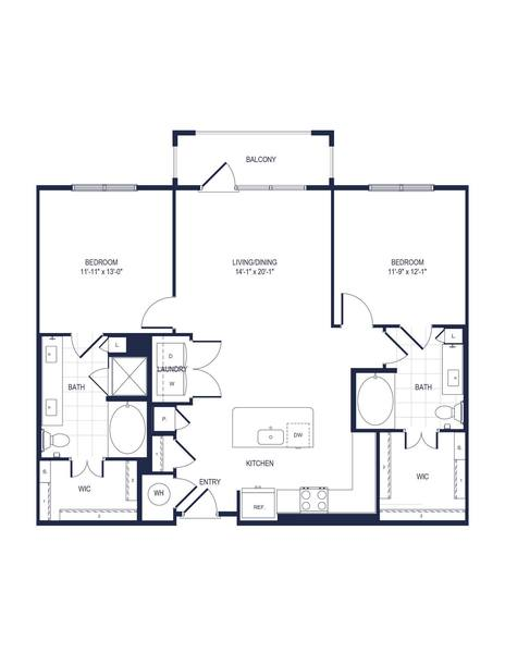 A 2D drawing of the B2-A floor plan