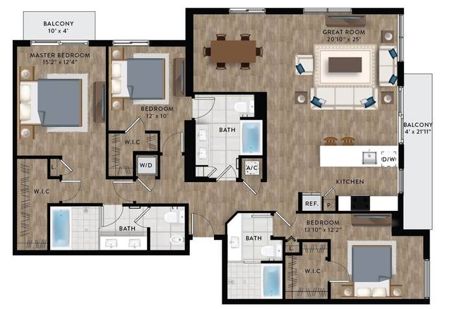 A 2D drawing of the Penthouse 3 floor plan
