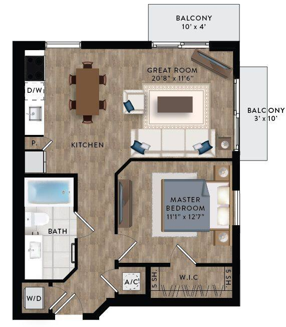 A 2D drawing of the A1-C floor plan