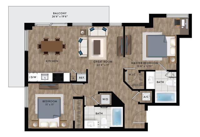 A 2D drawing of the Penthouse 4 floor plan