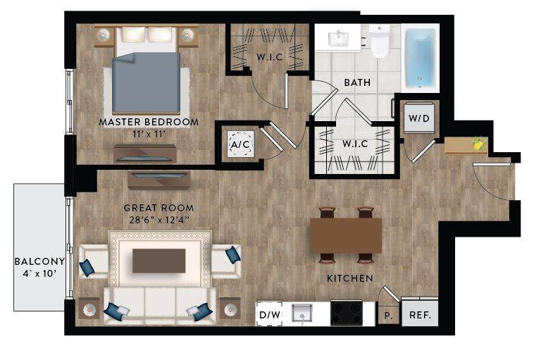 A 2D drawing of the Penthouse 6 floor plan