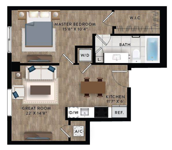 A 2D drawing of the Penthouse 7 floor plan