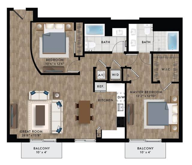 A 2D drawing of the Penthouse 2 floor plan