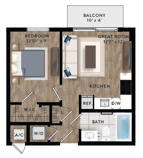 A 2D drawing of the Studio 1-A floor plan
